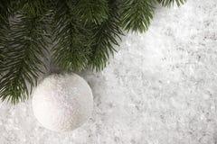 Gałąź świerczyna z dekoracją w śniegu Zdjęcie Royalty Free
