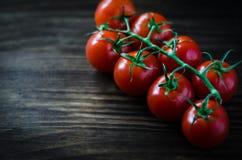 Gałąź czerwoni organicznie czereśniowi pomidory na drewnianym tle Zdjęcia Royalty Free