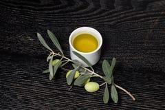 Gałąź drzewo oliwne z zielonej oliwki jagodami i nakrętką świeży o Zdjęcie Royalty Free