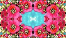 Gałąź drzewo w kwiacie Wiosny czerwieni kwiaty Rysowa? na tkaninie kwiat fractal ramy ilustracja royalty ilustracja
