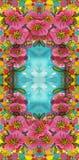 Gałąź drzewo w kwiacie Wiosny czerwieni kwiaty Rysowa? na tkaninie kwiat fractal ramy ilustracja ilustracja wektor