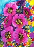 Gałąź drzewo w kwiacie Wiosny czerwieni kwiaty Rysowa? na tkaninie royalty ilustracja