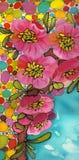 Gałąź drzewo w kwiacie Wiosny czerwieni kwiaty Rysowa? na tkaninie ilustracji