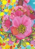 Gałąź drzewo w kwiacie Wiosny czerwieni kwiaty Rysowa? na tkaninie ilustracja wektor