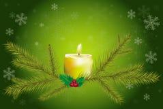 Gałąź i świeczka na zielonym tle Ilustracja Wektor