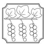 Gałąź jagoda rodzynek, lecznicza roślina Pożytecznie jagody dla zdrowie i medycyny Graficzny wizerunek w ramie r?wnie? zwr?ci? co ilustracji