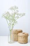 Gałąź kwiaty i dwa zamkniętego kosza Obraz Stock
