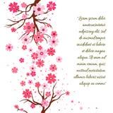 Gałąź Sakura z kwiatami Czereśniowego okwitnięcia gałąź z płatek spada płaskimi wektorowymi ilustracjami odizolowywa ilustracja wektor