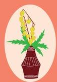 Gałąź z kolorem żółtym opuszcza w brown wazie Fotografia Royalty Free