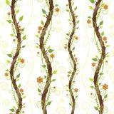 Gałąź z kwiatami i liśćmi na białym tle Obrazy Royalty Free