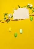 Gałąź - z Wielkanocnymi jajkami, kwiatami i Pustą kartą, Zdjęcie Stock