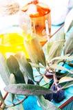Gałązka oliwna i olej obrazy stock