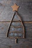 Gałązki choinki kształt z gwiazdowymi onraments Obrazy Royalty Free