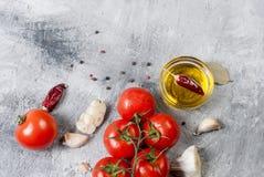 Gałęziaści pomidory i ziele na popielatym tle Zdjęcie Royalty Free