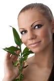 gałęziasta bambus dziewczyna Zdjęcie Royalty Free