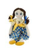 Gałganianej lali dziewczyna z brown włosy ubierał w patriotycznych ukraińskich colours Fotografia Royalty Free