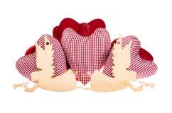 Gałganiany serce i drewniani aniołowie Zdjęcie Royalty Free