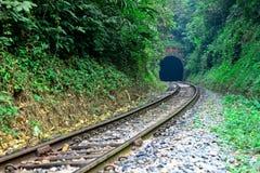 Ga in de tunnel, reis met spoorweg Stock Fotografie