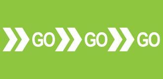 Ga gaan gaan witte van de woordtekst en richting pijlen op groene achtergrond als motievenberichtbanner Vector illustratie vector illustratie