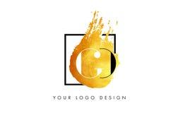 GA Gouden Brief Logo Painted Brush Texture Strokes Royalty-vrije Stock Afbeelding