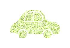 Ga groen ecopatroon op autosilhouet Royalty-vrije Stock Foto