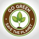 ga groen embleem sparen de planeet Royalty-vrije Stock Foto's