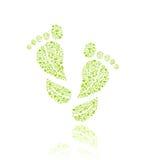 Ga Groen Patroon Eco in het Silhouet van de Voet Royalty-vrije Stock Foto