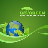 Ga groen sparen de aarde is blad, wereld en lintgolf Royalty-vrije Stock Foto's