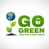 Ga groen sparen de aarde is wereldboom Stock Foto