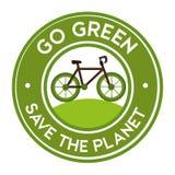 ga groen sparen de het pictogramsticker van de planeetfiets Stock Foto