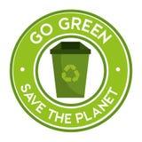 ga groen sparen het planeetpictogram kringloop Royalty-vrije Stock Afbeelding