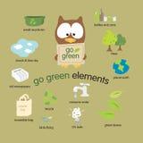 Ga Groene Geplaatste Elementen Royalty-vrije Stock Afbeeldingen