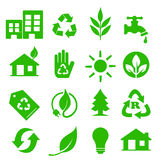 Ga Groene geplaatste Pictogrammen - 01 Stock Afbeelding