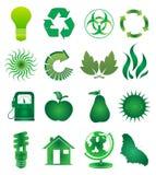 Ga Groene geplaatste pictogrammen Royalty-vrije Stock Afbeelding