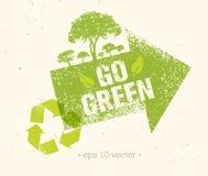 Ga Groene Kringloop verminderen de Afficheconcept van Hergebruikseco Vector Creatieve Organische Illustratie op Ruwe Achtergrond Royalty-vrije Stock Afbeeldingen