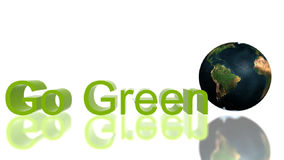 Ga Groene tekst met rollende Aarde en het groeien klimop, milieuconcept, voorraadlengte royalty-vrije illustratie