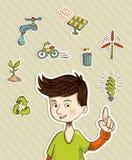 Ga groene tiener toont eco vriendschappelijke pictogrammen Stock Foto