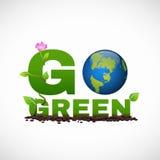 Ga het groene ontwerp van het bannerembleem is hebben aardeblad en bloemboom Stock Foto's