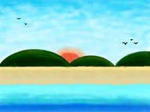 Ga naar het strand, de zomerachtergrond door waterkleur stock foto's