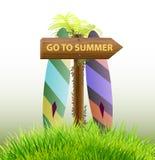 Ga naar ontwerp van het de zomer het houten teken Royalty-vrije Stock Foto's