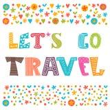 Ga reis reis concept Het van letters voorzien ontwerp Royalty-vrije Stock Afbeelding