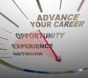 Ga Uw Snelheidsmeter Job Promotion Raise van Carrièrewoorden vooruit Stock Foto's