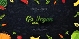Ga veganist Gezond voedsel Vegetarische banner Hand-trek krabbelachtergrond Vector illustratie stock illustratie