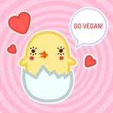 Ga veganist vectorkaart, achtergrond en sticker met leuke babykip Royalty-vrije Stock Foto
