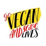 Ga veganistkalligrafie Royalty-vrije Stock Afbeelding