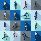 Ga Werkend Geplaatste Mensenpictogrammen Royalty-vrije Stock Afbeelding