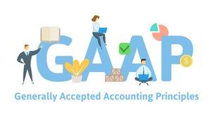 GAAP, γενικά αποδεκτές αρχές της λογιστικής Έννοια με τις λέξεις κλειδιά, τις επιστολές και τα εικονίδια Επίπεδη διανυσματική απε διανυσματική απεικόνιση