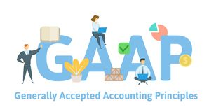 GAAP, principios de contabilidad generalmente aceptados Concepto con palabras claves, letras e iconos Ejemplo plano del vector ilustración del vector