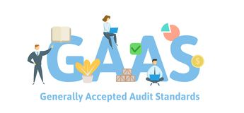GAAS, Generally Accepted Auditing Standards. Concept with keywords, letters and icons. Flat vector illustration