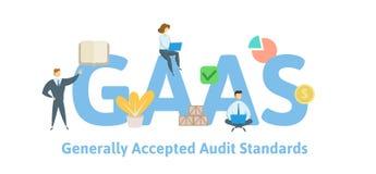 GAAS, normas de auditoría generalmente aceptadas Concepto con palabras claves, letras e iconos Ejemplo plano del vector stock de ilustración